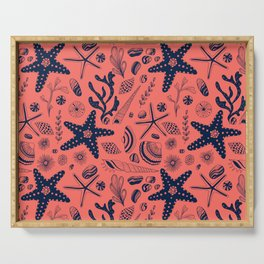 Sea shells on living coral background Serving Tray