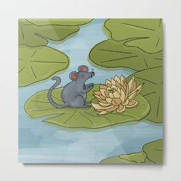 Mouse Lily Pad Metal Print