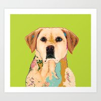 golden retriever Art Prints featuring Golden Retriever by eileen tomson