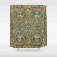 arabic Shower Curtains featuring Arabic Marigold by GEETIKAGULIA