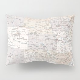 High detail map of the Usa with roads, Keane - ORDER PRINTS IN SIZE XL (small labels) Pillow Sham