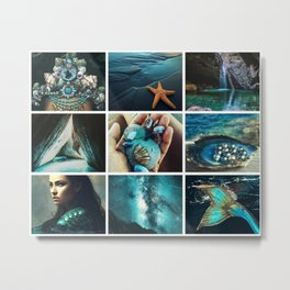 Dark Teal Mermaid Moodboard Metal Print