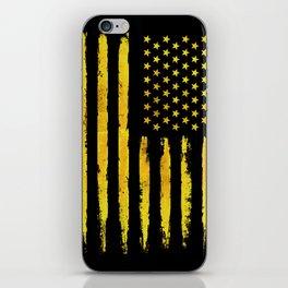 Gold grunge american flag iPhone Skin