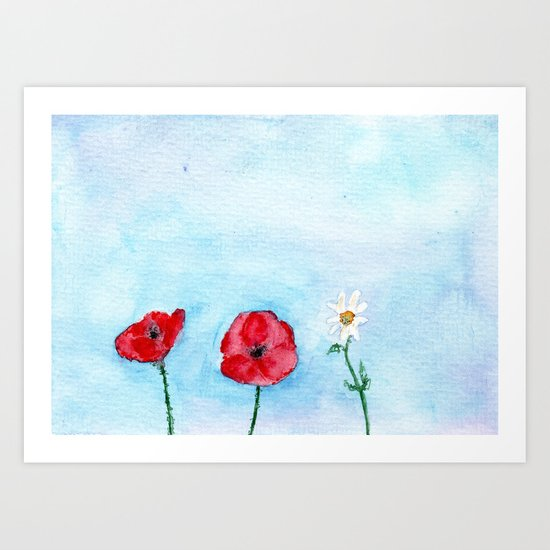 Two poppies and a daisy    watercolor Art Print