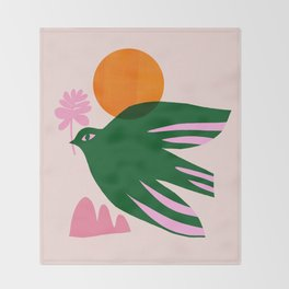 Abstraction_BIRD_SUN_Beautiful_Day_Minimalism_001 Throw Blanket