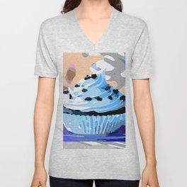 Chocolate Cupcake with Blue Buttercream Unisex V-Neck