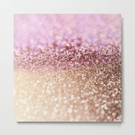 Mermaid Rose Gold Blush Glitter Metal Print