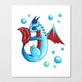 Blue Bubbles Dragon Canvas Print