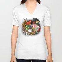 alice wonderland V-neck T-shirts featuring Wonderland  by Katie Simpson a.k.a. Redhead-K