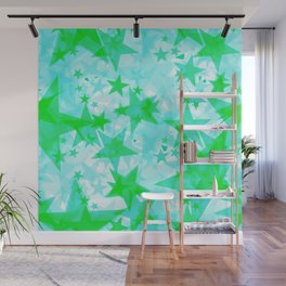 Bright green iridescent stars on a light background in the projection. Wall Mural