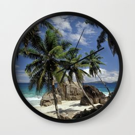 A small beach on La Digue island, the Seychelles Wall Clock