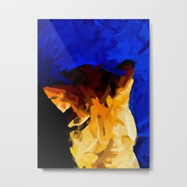 Orange Cat and a Cobalt Blue Floor Metal Print