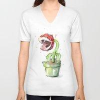 plant V-neck T-shirts featuring Piranha Plant Art by Olechka