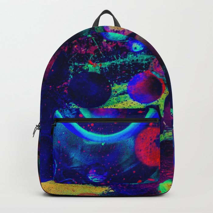 Bright Colorful Surreal Splash Painting Space Pattern Backpack