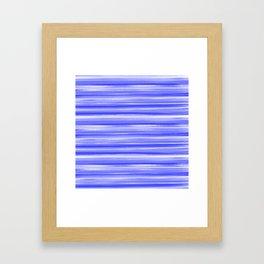 Girly Artsy Ocean Blue Abstract Stripes Framed Art Print