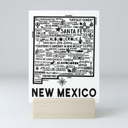 New Mexico Map  Mini Art Print