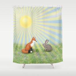fox and bunny Shower Curtain
