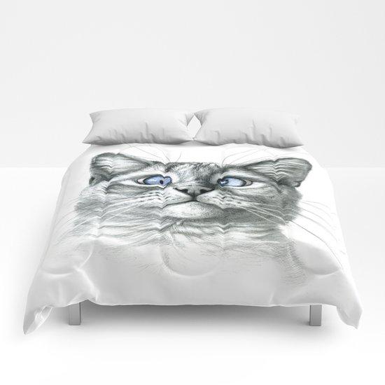 Cross Eyed cat G122 Comforters