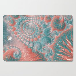 Abstract Living Coral Reef Nautilus Pastel Teal Blue Orange Spiral Swirl Pattern Fractal Fine Art Cutting Board