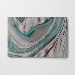 Shiny Rose Gold And Teal Marble Gemstone Metal Print