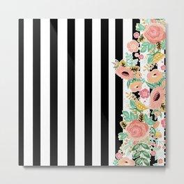 Striped Floral Pattern Metal Print