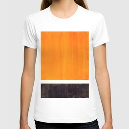 Minimalist Mid Century Modern Color Block Pop Art Rothko Inspired Golden Yellow Black Squares T-shirt