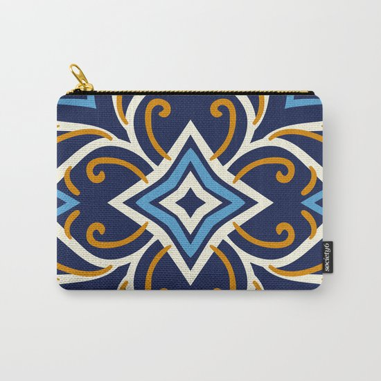 Decorative Floral Pattern 3 - Blue Shakespeare , Mango Tango, Cream Carry-All Pouch