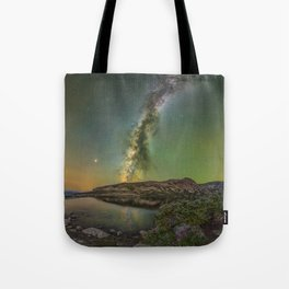 Milky waway over loch lomond Tote Bag