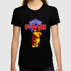 Doctor Pooh Black MEDIUM Womens Fitted Tee