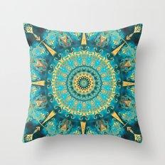 Caribbean Gold Mandala Throw Pillow
