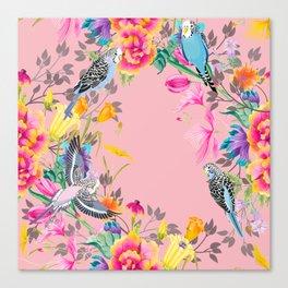 Stardust Pink Floral Birds Motif Canvas Print