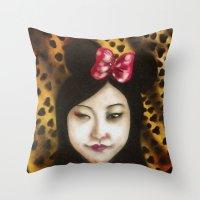 minnie Throw Pillows featuring minnie by NAME THEGREY
