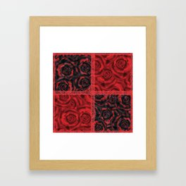 Patchwork . Roses are red. Framed Art Print