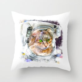 Space Cat Watercolor Throw Pillow