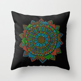 Glow Doodle Mandala Throw Pillow