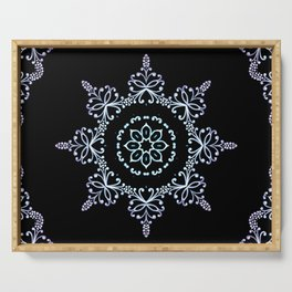 winter star hand drawn kaleidoscope Mandala Serving Tray