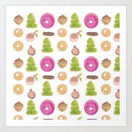 Watercolor Christmas Bakery Treats Donuts Cupcakes Cookies Art Print