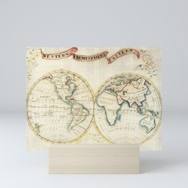 Map sampler made at Pleasent Valley Quaker Boarding School (1809) by Polly Platt. Mini Art Print