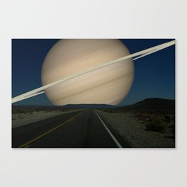 If Saturn replaced the Earth's Moon Canvas Print