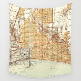 Vintage Map of Long Beach California (1949) Wall Tapestry