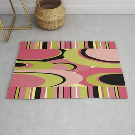 Contemporary Circles and Stripes Pattern in Hot Pink Neon Green and Black Rug