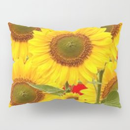 YELLOW-GREEN SUNFLOWERS RED COLOR Pillow Sham