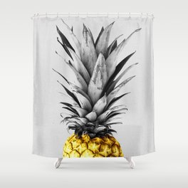 Gray and golden pineapple Shower Curtain