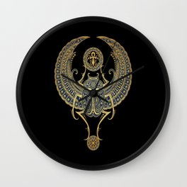 Golden Blue Winged Egyptian Scarab Beetle with Ankh Wall Clock