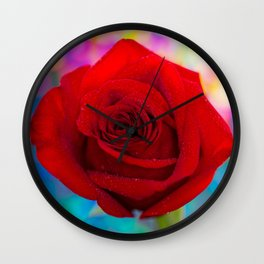 Red Rose and Rainbow Bokeh Wall Clock