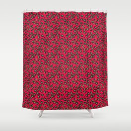 Deep Pink Rose Velvet Spotted Leopard Animal Print Pattern Shower Curtain