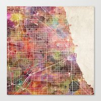 chicago map Canvas Prints featuring Chicago map by Map Map Maps