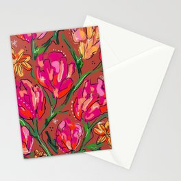 Orange Floral Stationery Cards