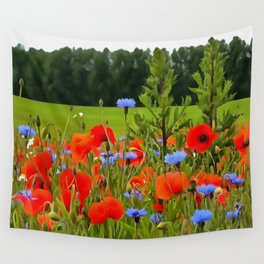 Poppies And Cornflowers Wall Tapestry