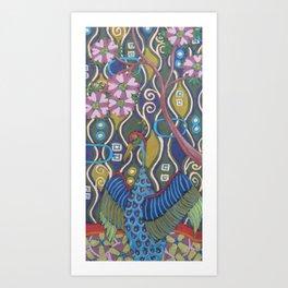 Crane with Cherry Blossoms Art Print